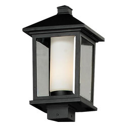 Z-Lite - Z-Lite 538PHB-BK Z-Lite 538PHB-ORB Oil Rubbed Bronze Mesa 1 Light Outdoor Post L - Z-Lite 538PH Mesa Post Mount Light Mesa Post Mount LightUnique double glass styling and rectangular detailing define the modern styling of this large