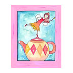 Oh How Cute Kids by Serena Bowman - Harlequin Teapot Fairy with Pink Border, Ready To Hang Canvas Kid's Wall Decor, - Each kid is unique in his/her own way, so why shouldn't their wall decor be as well! With our extensive selection of canvas wall art for kids, from princesses to spaceships, from cowboys to traveling girls, we'll help you find that perfect piece for your special one.  Or you can fill the entire room with our imaginative art; every canvas is part of a coordinated series, an easy way to provide a complete and unified look for any room.