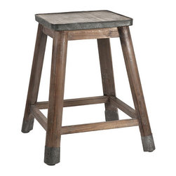 Dylan Stool with Zinc Seat - Wood and metal are a vintage bath's best friends! Place reading material, a vase of freshly cut flowers, or carefully folded towels on the Dylan Stool. A mixture of wood and metal, the stool has a solid wood frame, metal capped legs, and a sturdy zinc seat. Perfect for rustic industrial and vintage baths that simply need more surfaces and seating options.