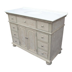 "EuroLux Home - New 48"" Single Sink Chest White/Cream Marble - Product Details"