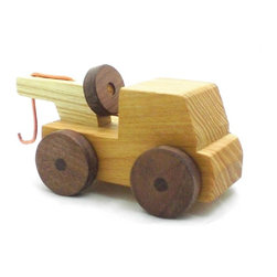 Happy Bungalow - Wooden Tow Truck Play Toy - Stuck in the Mud? Smoke's pouring out of the hood? Time to call the tow truck.