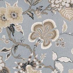 F. Schumacher - Hothouse Flowers Fabric, Mineral - 2 Yard Minimum Order.