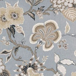 """F. Schumacher - Hothouse Flowers Fabric, Mineral - 2 Yard Minimum Order. This fabric print, Hothouse Flowers, by F. Schumacher is 100% linen and comes in 3 color-ways. Repeats - V50.375"""" & H27""""."""