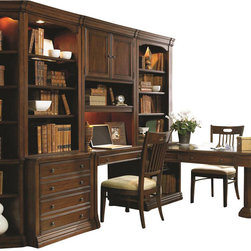 "Hooker Furniture - Cherry Creek Partner's Desk Peninsula - White glove, in-home delivery included!  Includes furniture assembly!  Partner's Desk Peninsula only. (Shown with Cherry Creek modular wall system.)  The Cherry Creek modular wall system allows you to design the function you need at a price much more affordable than custom built systems.  Desk Top has one pass through drawer with dividers, one drawer with drop-front for use with keyboard on each side.  Keyboard area: 24 1/16"" w x 13 9/16"" d x 2 1/4"" h  Bookcase Base has one stationary Shelf, one adjustable shelf, levelers, finished top.  Pedestal supports open side."