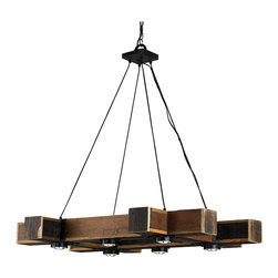 Kathy Kuo Home - Boondocks Rustic Lodge Chunky Wood 6 Light Chandelier - Romantic and rustic combine to form this strong, lodge-inspired chandelier. Distressed wood and wrought iron finished in black are a deep, rich centerpiece, shining six lights on your stylish space.