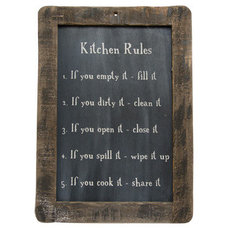 New Primitive Country Folk Art KITCHEN RULES Chalkboard Sign Wall Plaque on eBay