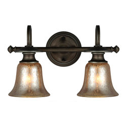 Champagne Bell Glass Bath Light 2 Light -