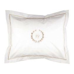 Jacaranda Living - Boudoir Pillow Cover, Beige Bee Wreath - Crisp, clean, understated. Get that luxurious fine hotel look in your bedroom with this boudoir pillow. It's the finishing touches that count.