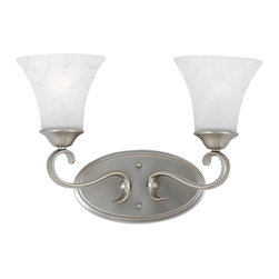 Quoizel - Quoizel 2-Light Duchess Bath Fixture in Antique Nickel - DH8602AN - Indulge in classic European elegance for your home with this refined design fit for royalty. The hand-forged iron is twisted into graceful curves, while the trumpeted shades celebrate the beauty of light with their warm gradation of color.