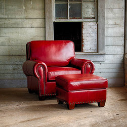 Mayo Furniture Gallery - I love, love, love this red leather chair and ottoman by Mayo Furniture. It's big and comfortable with classic timeless style. Perfect splash of color for any home.