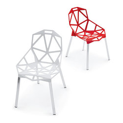 Magis Chair One Stacking Chair, Set of 2 - Chair One Stacking Chair design by Konstantin Grcic. Chair suitable for outdoor use with legs in polished or anodised aluminum and seat in polished die-cast aluminum or in die-cast aluminum treated with sputter fluorinated titanium and painted in polyester powder.