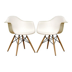 Baxton Studio Fiorenza White Plastic Armchairs with Wood Eiffel Legs, Set of 2 - If only I could buy every chair I ever loved! These would certainly come home with me.