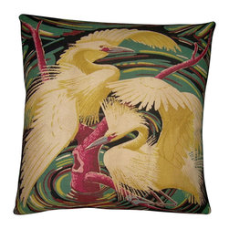 "Mid Century Home USA - Miami Beach Art Deco Pillow Cover ""Egret Swirl"" - This fabulous rare heavy, textured barkcloth ipillow cover is from the  1940's. Considered ""Miami Beach Art Deco"", this pillow cover is the perfect Mid Century accent!  The colors are bright and show off this whimiscal image beautifully.  Note: Sized for 20"" pillow insert.   The back is construckted of black duck cloth canvas with an envelope closure."