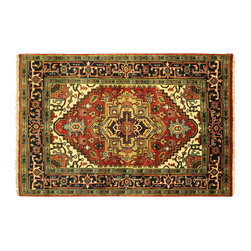 Manhattan Rugs - Hand Knotted Wool Free-Pad Floral Heriz 4x6 Serapi Cherry Red Veg Dyed Rug H5844 - Heriz is situated in the northwestern part of Iran (Persia).  Though the term covers Hand knotted rugs of numerous small villages in the area, the most beautiful Rugs were woven in Heriz itself For the last 100 years, the Heriz carpet designs have basically remained the same, with only small variations in color pallets and density of the design. The late 19th Century Rug (so called Serapis) was of fewer details and softer colors and with time designs became denser with added jewel tone color pallets. The revival of the carpet industry in the late 19th Century was based on the demand of the Western markets, with America in particular. Weavers in Heriz hand knotted were asked to make carpets inspired by the Fereghan Sarouks of higher cost for consumers of more limited budgets. Even though Sarouk carpets changed style later on, Heriz weavers stayed with the geometric pattern till now.  However, Heriz was also a center of production of some of the best handmade carpets with both geometric and curvilinear floral patterns.  A special heirloom wash produces the subtle color variations that give rugs their distinctive antique look.
