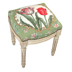Tulip Floral Needlepoint on White Wood Footstool - Great for traditional, French Country, shabby chic or almost any decor. These are small so they are great for tight spaces.