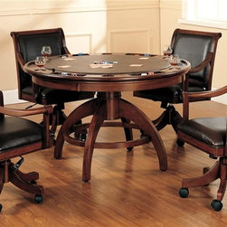 Hillsdale - Palm Springs 5 Pc Set - Incised in a medium brown cherry with brown leather seat cushions. Composed of solid woods, climate controlled wood composites, and veneers. This set combines comfort with casual living and functionality. With a transitional half sphere base and a clean rectangle chair back chair with arms. This multi-function table offers a dining surface on one side, a leather topped game surface on the other, as well as storage, checkers and backgammon game surfaces underneath the top. Medium Brown Cherry color. 52 in. Dia. x 31 in. H. Caster Game Chair: 26.25 in. W x 26 in. D x 37-39.5 in. HAdd panache to your game room with Hillsdale Furniture's Palm Springs Game table and chairs. This ensemble can find a home in your game room, den, or kitchen. Complete your game room d���cor with the matching bistro table and barstools.