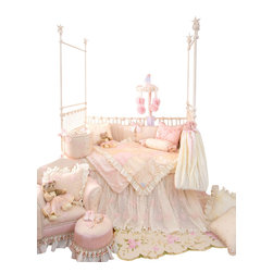 Glenna Jean - Ava Crib Bedding Set 4-Piece Set - The Ava Baby Crib Bedding Set by Glenna Jean features a crib skirt made of layers of crushed vanilla taffeta designed to cascade to the floor under a sheer floral, sequin embellished overskirt.  Sheer floral fabric has a dimensional flower appliqué and is lined with ivory moiré.  Ivory cording adds the finishing touch to the bumper for a dramatic and luxurious statement of style.