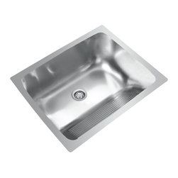 "Ukinox - Ukinox D610.457 Dual Mount Single Bowl Stainless Steel Laundry Sink - Ukinox's high-end stainless steel sinks are known for their superior functionality, durability, and ability to delight the designer in all of us. The unique D610.457 sink features an angled washboard on the front side and is designed for universal mounting   its slim edge allows it to be used as either a drop-in or undermount sink. Features: Premium single bowl stainless steel laundry sink. Fine quality sink bowl formed of 18 gauge Type 304 18/10 nickel bearing stainless steel. Sound absorbing pads and special paint applied to the underside of the sink to dampen sound. Made in Europe. Sinks include all basket strainers, mounting hardware and cut-out template. Standard 3-1/2"" drain opening compatible with most garbage disposal systems. Specifications: Total Product Length: 24 in. . Total Product Width: 18 in. . Sink Depth: 10 in. . Sink Gauge: 18. Product Weight: 13 lbs. Material: Stainless Steel. Installation Type: Dual Mount. Number of Basins: Single Basin. cUPC Certified?: Yes."