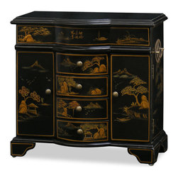China Furniture and Arts - Chinoiserie Scenery Motif Jewelry Cabinet - To store your valued jewelries and to add decorative beauty on your dresser top, our exquisite handcrafted gold highlighted Chinoiserie scenery jewelry chest serves this double purpose perfectly. Mirrored lift-top, two felt-lined ring trays and four spacious felt-lined drawers provide ample space for your lifetime collections. In addition, hooks are built in on the doors for necklaces. Solid hand forged brass hardware. Matte black finish. A perfect gift for her.