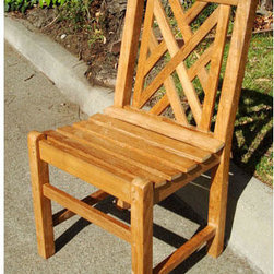 Teakwood Chippendale Dining Side Chair - The durable Teakwood Chippendale Dining Side Chair is made of finest solid teak, making it a perfect accompaniment for a dining table or to complete your backyard, patio, or terrace.