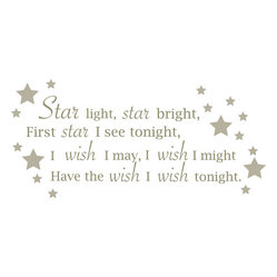 "WallPops - Star Light, Star Bright - Wall Wishes Wall Decals - Star Light, Star bright Wall Wishes creates a beautiful focal point on your wall with a pretty poem, enhanced with stars. This wall poem decal is precious in a nursery. Star Light, Star Bright Wall Wishes come on a single 17 1/4"" x 39"" sheet and contains 27 total pieces."