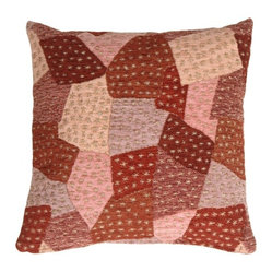 Pillow Decor - Pillow Decor - Patches of Stars in Purples Accent Pillow - Soft and cozy chenille patches in mauve, russet reds, plum, and dusty pink, punctuated by tiny stars woven into the design. The casual charm of the crazy quilt pattern will add depth and interest to your decor.