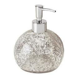 Gedy - Round Transparent Countertop Soap Dispenser, Silver - Contemporary, modern design soap lotion dispenser.