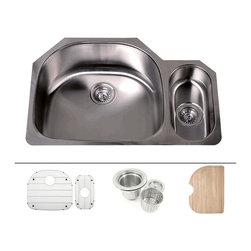 """TCS Home Supplies - 32 Inch Stainless Steel Undermount Double D-Bowl Offset Kitchen Sink FREE ACCESS - Premium 16 Gauge Stainless Steel Kitchen Sink Value Package.  Package comes with Matching Protective Grid Set, Deluxe Basket Strainer, Eco-Friendly Bamboo Cutting-board.  D-Bowl with Small Garbage Disposal Side Bowl.  Undermount Installation.  Brushed Stainless Steel Finish.  Dimensions 32"""" x 21-1/4"""" x 9"""" 