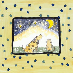 Oh How Cute Kids by Serena Bowman - Star Night-Dog And Cat, Ready To Hang Canvas Kid's Wall Decor, 24 X 30 - Each kid is unique in his/her own way, so why shouldn't their wall decor be as well! With our extensive selection of canvas wall art for kids, from princesses to spaceships, from cowboys to traveling girls, we'll help you find that perfect piece for your special one.  Or you can fill the entire room with our imaginative art; every canvas is part of a coordinated series, an easy way to provide a complete and unified look for any room.