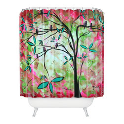 DENY Designs - madart inc Through The Looking Glass Shower Curtain - Who says bathrooms can't be fun? To get the most bang for your buck, start with an artistic, inventive shower curtain. We've got endless options that will really make your bathroom pop. Heck, your guests may start spending a little extra time in there because of it!