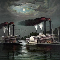 Race of the steamers Robert. E. Lee and Natchez on the Mississippi 24 x 30 Art P - Race of the steamers Robert. E. Lee and Natchez on the Mississippi by Donaldson Size: 24 x 30 Art Print Poster. Canvas Transfer stretched and canvas museum wrap. Comes ready to hang. Canvas board is an off white color.