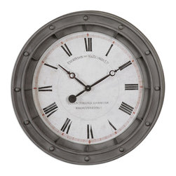 Uttermost - Porthole Wall Clock - You'll discover the beauty of this porthole wall clock with its rust gray metal frame surrounding a lovely face with delicate black hands. The quartz movement will keep you on time, all the time.