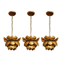 Brass Lotus Chandelier - I've been dying to add one of these lights to my personal collection of vintage items. I love the feminine curves and floral shape.