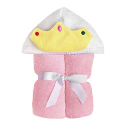 """Yikes Twins - Princess Hooded towel - This royal towel is a real show stopper at the beach or pool! The 100% cotton terry towel has been re-designed  with embroidered  """"bejeweled"""",  tiara that allows for easy washing. Suitable for children ages 2 -8yrs.  Towel size 27""""x51"""", hood size 10""""x 8.5"""".  Machine wash."""