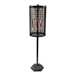 American FABHOUSE - Vintage Cage Floor Lamp - Vertical - Turn the timeless appeal of a classic design feature up a notch! This modern vintage style Edison lamp blends utility with urban industrial design. It features a hexagonal base, hand textured metals, hand-applied patina with a satin clear coat. The cylindrical slotted shade houses six unique 40 Watt Edison bulbs with dimmable rheostat.