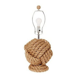 "Rope Knot Table Lamp Base - Thick nautical rope is tightly twisted and knotted to create this textural lamp. 11.5"" diameter, 25"" high Woven manila rope-wrapped frame with matching finial. 3-way switch on socket. Pole and stem finished in Polished Nickel. Pair with any of our medium Mix & Match(R) shades (sold separately). UL-listed. Title 20 compliant lamps will be shipped to CA addresses. {{link path='pages/popups/california_code_popup.html' class='popup' width='480' height='300'}}Learn more{{/link}} to understand product differences."