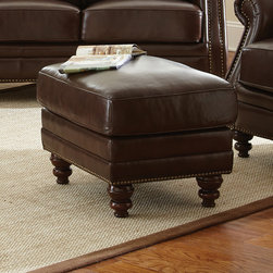Steve Silver Furniture - Steve Silver Biltmore Ottoman in Cocoa Brown Leather - The Biltmore Collection features a classic hand rubbed and finished semi- aniline leather that will provide you with years of beauty, wear and comfort. Beautifully concaved rail for added style and grace. Biltmore features fully padded outside backs and arms for added durability and wear. The Biltmore also has hand applied brass accent nail head trim which enhances the style and look of the product. The legs are hand finished in a cocoa brown finish which complements the overall look and style of the group. The Biltmore features hand sewn double stitched seams throughout the entire collection.  Expect comfort, beauty, style, and quality construction with the Biltmore Collection. - BL900T.  Product features: 100% top grain leather on all seating areas with leather splits on outside back and arms; Cocoa Brown Leather w/ Antique Brass Nailheads; Seating features 2.0 High Density Foam with 8-way hand tied pocketed coils surrounded by a feather/fiber blend topper.; 100% Solid wood hand finished accent legs. Product includes: Ottoman (1). Ottoman in Cocoa Brown Leather belongs to Biltmore Collection by Steve Silver.