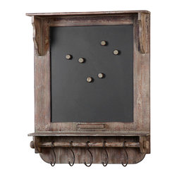Laelia Wall Chalkboard - A collection of gentle reminders. A list of must-dos. A letter awaiting send off. The Laelia Wall Chalkboard neatly and handily organizes your daily communications while also offering a convenient catchall for caps and keys. The solid wood frame boasts a burnt pecan finish accented with olive gray glaze.