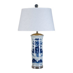 Oriental Danny - Blue and white vase lamp - Classic blue and white vase lamp in ladies in garden design. Dressed in silk lamp shade. Sitting on a acrylic base for transitional modern look. Great as table or beside table lamps. 100 watt, 3 way switch, UL listed