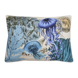Thro - French Coastal Jelly Fish Rectangular Feather Fill Throw Pillow - Inspired by elegant coastal style, this rectangular decorative throw pillow features a removable faux linen cover with a plush polyester insert. A bright blue jellyfish pattern is transposed over a French pattern for an eye-catching, sophisticated effect.