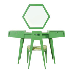 Lilly Dressing Table - The color of fresh green grass, the Lily Dressing table is the perfect place to sit and craft the scents of nature...the fresh salty essence of the ocean, the earthy aroma of the forest, the warm, sweet fragrance of summer rain, the cool, crisp scent of freshly fallen snow. The Lily dressing table is designed by Sherwood Hamill, co-founder of angela adams, and is handcrafted in Portland, Maine.