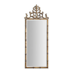 Uttermost - Vittoria Gold Metal Mirror - This stately mirror features a hand forged metal frame finished in a heavily antiqued, gold plated finish with light gray accents. Mirror has a generous 1 1/4 bevel.