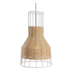 Blu Dot - Blu Dot Laika Small Pendant Light, Natural - White or natural colored rattan is intertwined with a steel framework to create a pleasing hand woven pattern of peekaboo light.  Mounts to ceiling.Powder-coated steel frame and canopy, Paper rattan, Cloth-covered cord, Maximum 150 watt incandescent, one CFL included