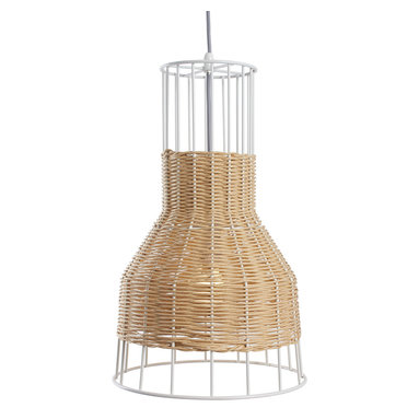 Blu Dot - Blu Dot Laika Small Pendant Light, Natural - White or natural colored rattan is intertwined with a steel framework to create a pleasing, hand woven pattern of peekaboo light. Mounts to ceiling.