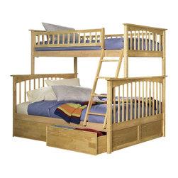 Atlantic Furniture - Atlantic Furniture Columbia Twin over Full Bunk Bed in Natural Maple - Atlantic Furniture - Bunk Beds - AB55205 -