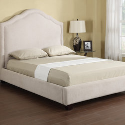 None - Emerald Lilian Vanilla Chenille Upholstered Bed Set - This platform bed offers an elegant silhouette covered in a soft chenille-like vanilla fabric. The set features a herringbone pattern and stylish raised welts and includes a screw-in slat roll,bolt-on rails,center support on slats and wood feet.