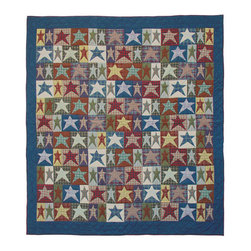Patch Quilts - All-star Quilt  Luxury King 120 x 106 Inch - Intricately appliqued and beautifully hand quilted  - Bedding ensemble from Patch Magic  the name for the finest quality quilts and accessories  - Machine washable  - Line or Flat dry only Patch Quilts - QLKALLS