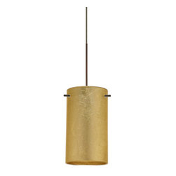 """Besa Lighting - Besa Lighting 1XC-4404GF-LED Stilo 1 Light LED Cord-Hung Mini Pendant - Stilo 7 is a classic open-ended cylinder of handcrafted glass, a shape that will stand the test of time. Our Gold Foil glass is sparkling and metallic. Distressed metal foil is applied to the inner surface of a glossy clear blown glass. This decor is full of textured and depth, however the outer surface of the glass is smooth. When lit the glass comes to life, as the distressed foil allows glimpses of light to pass through. This blown glass is handcrafted by a skilled artisan, utilizing century-old techniques passed down from generation to generation. Each piece of this decor has its own artistic nature that can be individually appreciated. The 12V cord pendant fixture is equipped with a 10' coaxial cord with teflon jacket and an """"Easy Install"""" Dome monopoint canopy.Features:"""