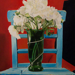 """""""The Waiting Room, Painting"""" - White roses in vase on blue chair against red background."""