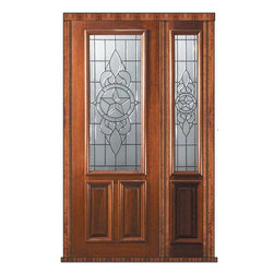 "Prehung Entry Sidelite Door 96 Mahogany Brazos 2 Panel 2/3 Lite Glass - SKU#    P17705-G-DP823BZ1-1Brand    GlassCraftDoor Type    ExteriorManufacturer Collection    2/3 Lite Entry DoorsDoor Model    BrazosDoor Material    WoodWoodgrain    MahoganyVeneer    Price    4390Door Size Options      +$percent  +$percentCore Type    Door Style    Door Lite Style    2/3 LiteDoor Panel Style    2 PanelHome Style Matching    Door Construction    PortobelloPrehanging Options    PrehungPrehung Configuration    Door with One SideliteDoor Thickness (Inches)    1.75Glass Thickness (Inches)    Glass Type    Triple GlazedGlass Caming    Oil Rubbed Bronze , BlackGlass Features    Tempered , BeveledGlass Style    Glass Texture    Glass Obscurity    Door Features    Door Approvals    Wind-load Rated , FSC , TCEQ , AMD , NFRC-IG , IRC , NFRC-Safety GlassDoor Finishes    Door Accessories    Weight (lbs)    498Crating Size    25"" (w)x 108"" (l)x 52"" (h)Lead Time    Slab Doors: 7 Business DaysPrehung:14 Business DaysPrefinished, PreHung:21 Business DaysWarranty    One (1) year limited warranty for all unfinished wood doorsOne (1) year limited warranty for all factory?finished wood doors"